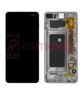 Samsung Galaxy S10 Plus G975f Lcd + tactile + châssis blanc / argent GH82-18849B Service Pack