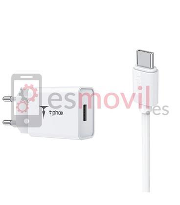 t-phox-mini-cargador-cable-usb-a-tipo-c-12-m-blanco