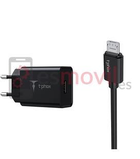 t-phox-mini-cargador-cable-usb-a-micro-usb-3a-12-m-negro