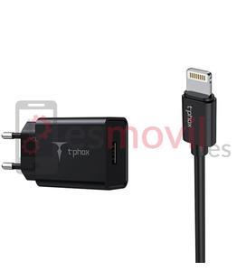 t-phox-mini-cargador-cable-usb-a-lightning-3a-12-m-negro